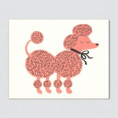French poodle in pink with crazy coiffure, illustration for greetings card from Lisa Jones Studio Cute Animal Illustration, Children's Book Illustration, Animal Illustrations, Kids Graphics, Pink Poodle, You Draw, Kids Prints, Cute Dogs, Art For Kids