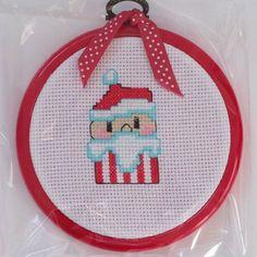Santa cupcake original cross stitch hoop by PosieAndMarmalades