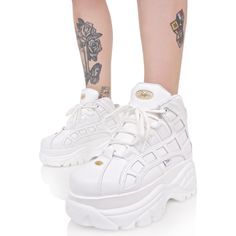 Buffalo Blanco Arched Platform Sneakers ($165) ❤ liked on Polyvore featuring shoes, sneakers, white leather trainers, white leather shoes, white leather sneakers, leather platform shoes and white sneakers