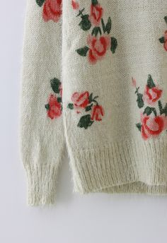 Floral Print Fluffy Sweater