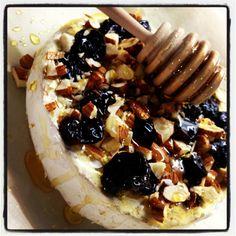 Brie cheese baked with honey, cherries& almonds!!! Yum yum!!!