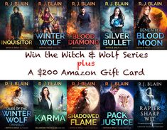 Here's a giveaway that also just opened up. The prizes are a nice chunky $200 Amazon gift card and the entire Witch & Wolf Series by author R. J. Blain.