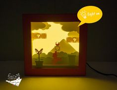 Super Mario shadow box with light Special night by FairyCherry