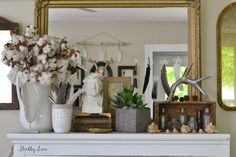 Shabby Love Mantle - always looking for nice mantel ideas.