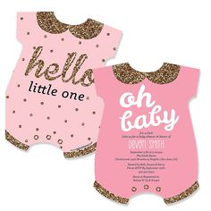 Hello Little One - Pink and Gold - Baby Bodysuits Shaped Girl Baby Shower Invitations | BigDotOfHappiness.com