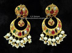 Happy girls shine brighter.. Happiness is diamonds! A navratan chand bali with double-coated pearl drops | Diamond Polki Earrings | Chand Bali | Chand Bala | Traditional Indian Jewelry | Wedding Jewelry | Bridal Jewelry