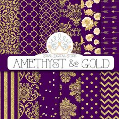 """Purple digital paper: """"AMETHYST & GOLD"""" with purple and gold background, purple scrapbook paper, gold patterns, gold damask for scrapbooking #gold #damask #digitalpaper #romantic #scrapbookpaper #planner #partysupplies"""