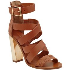 BCBGMAXAZRIA East Sandal ❤ liked on Polyvore featuring shoes, sandals, camel, strap sandals, leather strappy sandals, strappy high heel sandals, leather sandals and heeled sandals