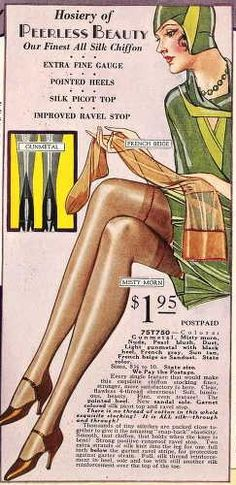 Advertisement for hosiery. Sears, Roebuck, and Co., Fall 1929 (pg 11).