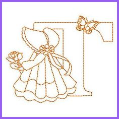Sunbonnet Alphabet - T Embroidery Alphabet, Learn Embroidery, Machine Embroidery Patterns, Quilt Patterns Free, Vintage Embroidery, Embroidery Applique, Cross Stitch Embroidery, Stitch Patterns, Alphabet Quilt