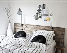 Home Decor – Bedrooms : The lights – attach to headboard for small bedroom. Stylizimo – Home. -Read More – Home Decor Bedroom, Bedroom Furniture, Headboard Lamp, Bed Lamps, Deco Design, Head Boards, Sweet Home, House Design, Interior Design
