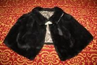 Vintage Woman Real Fur Shoulder Cape Shawl Stole Lined Rhinestone Clasp