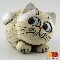 Figure white cat 13 cm - everything is there - Keramiken - Pottery Animals, Ceramic Animals, Clay Animals, Stone Crafts, Rock Crafts, Ceramic Pottery, Ceramic Art, Ceramic Pendant, Pottery Art