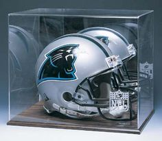 Full Size Football Helmet Display Case with Mirrored Back, Wood Finished Base and Engraved NFL Team Logo