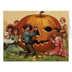 Children Carving Jack O Lantern Pumpkin Card - autumn gifts templates diy customize
