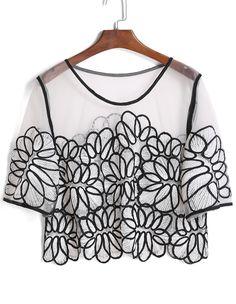 Shop Mesh Embroidered Crop Top online. SheIn offers Mesh Embroidered Crop Top & more to fit your fashionable needs.