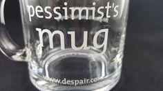 Funny Gag Gift Pessimist This Glass Is Now Half Empty Glass Mug