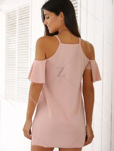 affordable Spaghetti Straps Cold Shoulder Mini Dress - PINK S Mobile Cute Casual Dresses, Fall Dresses, Casual Outfits, Summer Dresses, Work Dresses, Dresses Dresses, Party Dresses, Girls Dresses, Wedding Dresses