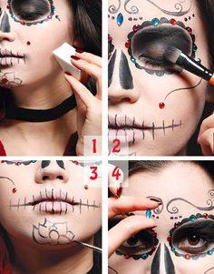Maquillaje Halloween: Calavera mexicana foto Gruselkostüme und Make-up-Ideen (Halloween und Karneval Halloween Makeup Looks, Halloween Skull, Fall Halloween, Halloween Crafts, Halloween Decorations, Halloween Party, Mexican Halloween, Day Of Dead Makeup, Sugar Skull Makeup
