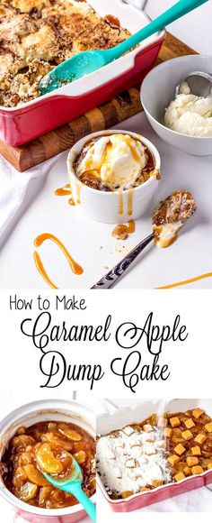 How to Make a Simple Apple Dump Cake with Video | The Bearfoot Baker #cakerecipe #applecake #dumpcake #caramel #bearfootbaker #fallfood #autumnapples #applerecipes