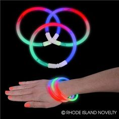 "9"" TRI-COLOR GLOW BRACELET. This 9-inch Tri-color Glow Bracelets come with a variety of vibrant colors, three per bracelet. Simply snap the glass capsule to make the chemicals mix together and create light. This item is perfect for night time parties. 50 pieces per tube. #TrickofTreat #Halloween #Lightups #GlowintheDark #CandyFree"