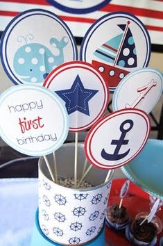 Whales and sails birthday party! Cute idea for a boy's party. Sailor Birthday, Whale Birthday, Baby Boy Birthday, Boy Birthday Parties, Birthday Ideas, Sister Birthday, Birthday Decorations, Halloween Decorations, Table Decorations