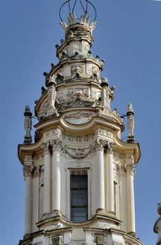 "ITALIAN BAROQUE ARCHITECTURE, Borromini; Detail of Sant' Ivo alle Sapienza, by Borromini.""Borromini developed an inventive and distinctive architecture. He rejected all classical architects from Brunelleschi to Bernini. Instead, Borromini said that his architecture was based on nature, Michelangelo and the antique. The antique sources Borromini used were not the Colosseum or the Pantheon, but inventive curvilinear buildings such as the pavilion of the Piazza d'Ore at Hadrian's Villa at…"
