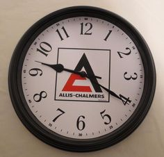 "NEW  ""ALLIS-CHALMERS LATE LOGO"" WALL CLOCK. LOGO USED FROM 1967-1985"