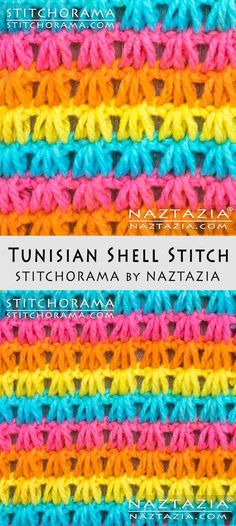 Crochet Tunisian Shell Stitch Free Pattern and DIY Tutorial YouTube Video by Donna Wolfe from Stitchorama by Naztazia