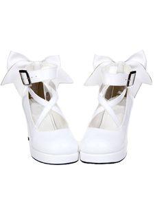 Zapatos Lolita Blancos Tacones Altos Tirantes de Tobillo Lazo
