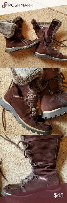 Size 8 Skechers boots Great shape brown boots with faux fur trim. They were worn twice and have almost no wear on the soles. Skechers Shoes Lace Up Boots