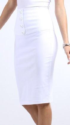 Love this!! Petite High Waist Stretch Pencil Skirt with Four Button Detail - http://cheune.com/a/29335492150858045