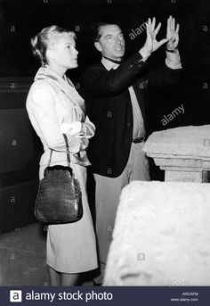 Download this stock image: Schneider, Romy, 23.9.1938 - 29.5.1982, German actress, half length, with Herbert von Karajan, circa 1958, gesticulate, gesticul - arcafm from Alamy's library of millions of high resolution stock photos, illustrations and vectors.