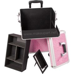 Roomy Professional Rolling Makeup Case w/ Tray & Mirror - Pink Alligator -- Makeup Artist Network Online Store