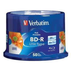 Verbatim Blu-Ray White Inkjet Hub Printable 6X 25GB BD-R LTH (Low to High) Media 50 Pack in Cake Box by Verbatim. $78.99. The 25GB 6x LTH Type Blue-ray Discs from Verbatim contains 50 Blu-ray discs capable of playing incredible high-definition video on Blu-ray players. The single layer discs store up to 25GB of data or video. The discs support write-speeds up to 6x, and come in a spindle for convenient storage and protection.      Features         Low to High (LTH)...