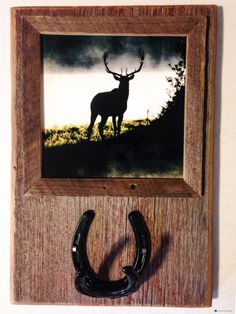 Reclaimed Barnwood Horseshoe Coat/Hat Rack framed 8x8 Metal print of Elk Silhouette photo. Metal print is replaceable with any image. by PicturesFromHeaven on Etsy