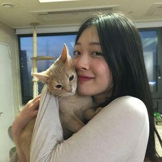 Sulli with her cat