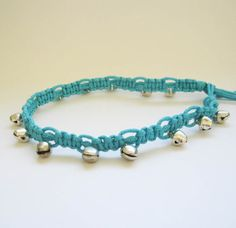 Turquoise Handmade Hemp Anklet with Bells by anneshandspun on Etsy, $8.50