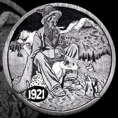 by Andy Gonzales Hobo Nickel, Coin Art, Old Coins, Folk Music, Memento Mori, Coin Collecting, Art Forms, Metal Art, Sculpture Art