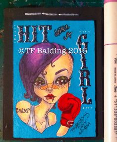 Hit like a Girl, original mail Art Deco book by TF Balding.  ©TF Balding 2016  https://www.facebook.com/SouthernSweetTeaStudio  https://www.etsy.com/shop/SouthernSweetTea30  https://www.patreon.com/SouthernSweetTea  https://society6.com/tfbalding  https://www.slslines.com/collections/coloring-book-printable/products/adult-coloring-book-featuring-illustratedatcs-artists
