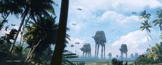 Imperial Walkers spotted on Scarif in Thom Tenery's Rogue One concept art.