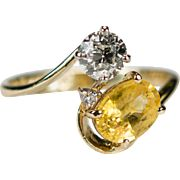 Old European Cut Diamond Sapphire Ring 14k Plumb Gold Natural Yellow Sapphire Diamond Ring