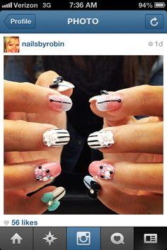 #nails #nailart #3D #bows #flowers