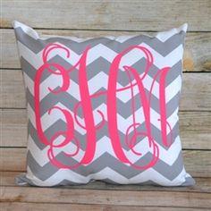 Gray chevron pillow with PINK monogram... love it. from Monogram Lane