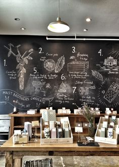 Mast Brothers' amazing Chocolate Chalkboard! (Learned about them & 1st saw the wall on America's Test Kitchen!)