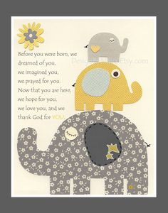 Elephant Nursery Art Decor, Elephant Print, Baby Elephant Nursery Decor, Elephant Wall Art // Before You Were Born // Gray Yellow.  via Etsy.