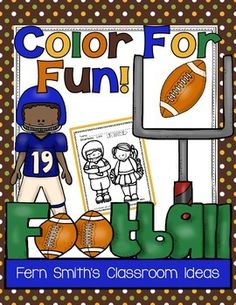 Football activities: FREE color for fun pages.