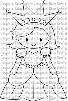 Digital Stamp  Pretty Pretty Princess by paperaddictions on Etsy I'd like to try to make this pretty little princess in felts