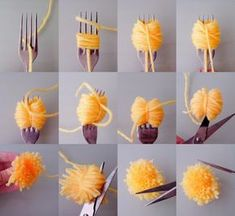 diy pom poms with a fork Diy Home Crafts, Diy Arts And Crafts, Crafts For Kids, Pom Pom Crafts, Yarn Crafts, Easter Crafts, Christmas Crafts, Art Diy, How To Make A Pom Pom