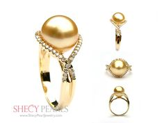 Pearl ring with side stones, lots more on site